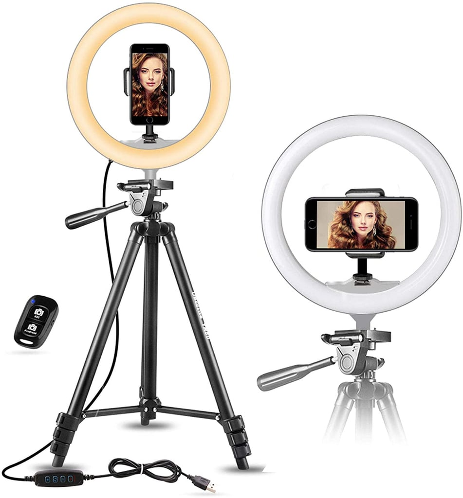 """UBeesize 10"""" Selfie Ring Light With 50"""" Extendable Tripod Stand & Flexible Phone Holder"""