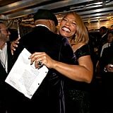 Queen Latifa gave LL Cool J a huge hug.