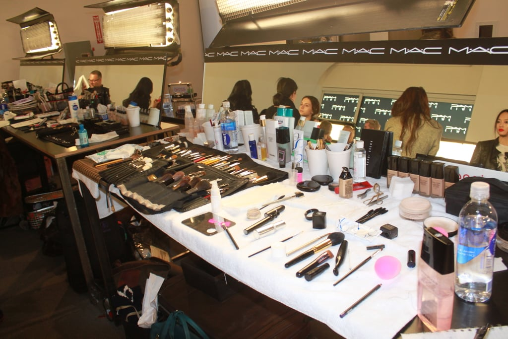 This is a view from the backstage makeup area where the MAC artistry team worked their magic on the models.