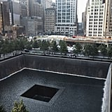 People gathered around the South Tower pool during the memorial ceremonies in NYC.