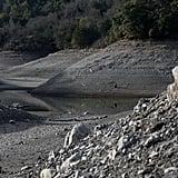 San Jose's Almaden Reservoir has strikingly low water levels.