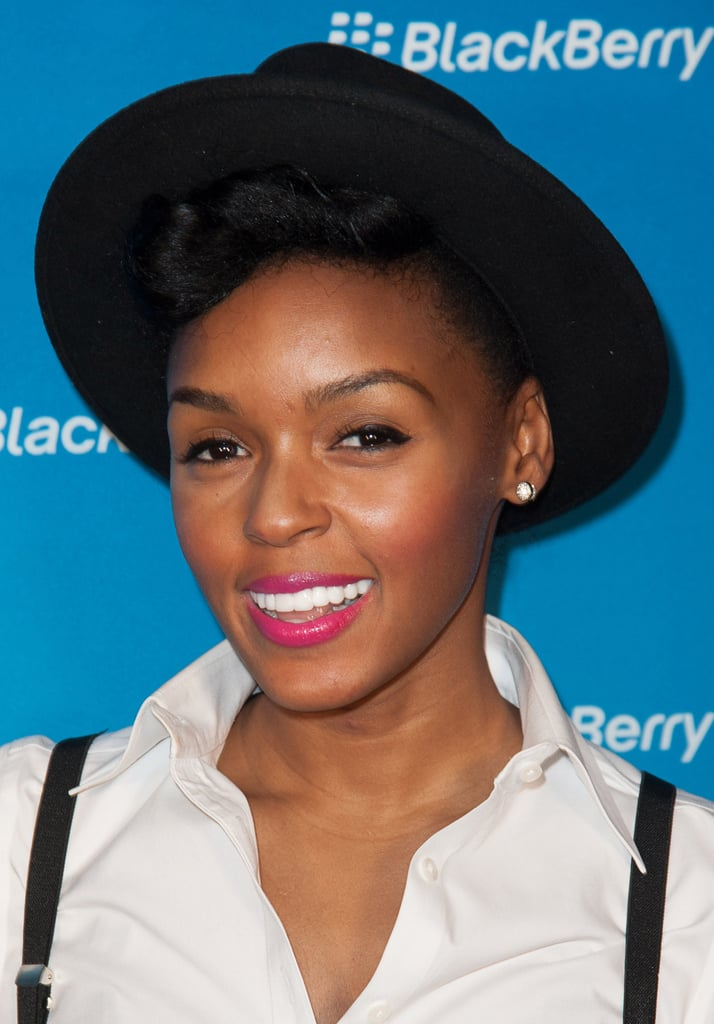 Janelle Monae stuck with her signature bold lip (and hat): a fun, fresh look for Spring.
