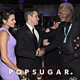 Matt and Luciana Damon chatted with Morgan Freeman.
