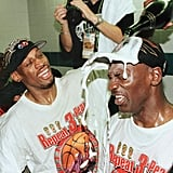 Michael Jordan and Dennis Rodman After Game 6 of the NBA Finals in 1998