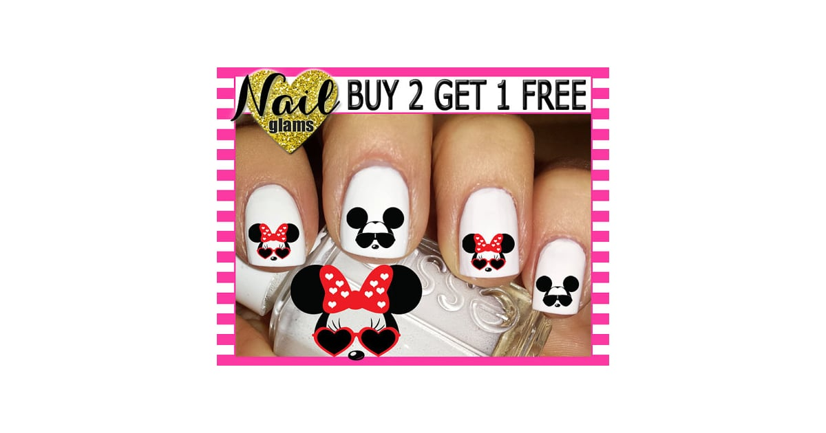 60 Nail Decals - Mickey & Minnie Mouse Faces Ears SUNGLASSES - RED ...