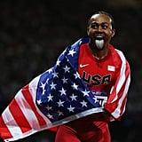 US hurdler Aries Merritt made a face after winning gold.