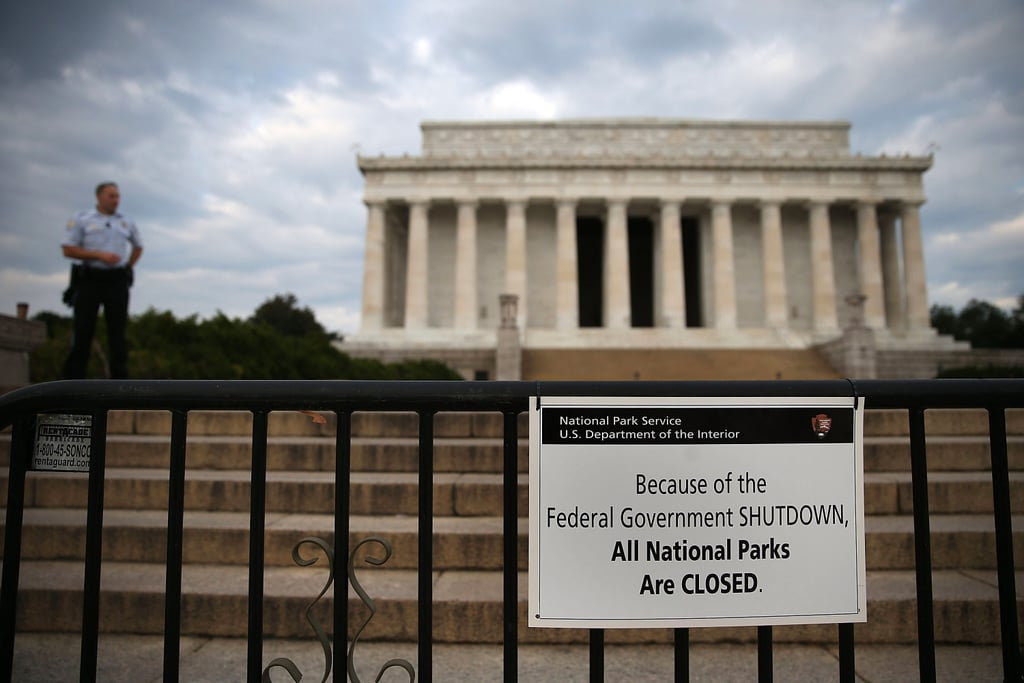 A police offer stood guard in front of the Lincoln Memorial while it was closed.