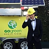 Ian Somerhalder got in the spirit with a hard hat in front of the Go Green Mobile Power station at Elton John's Oscars viewing party.  Source: Twitter user iansomerhalder