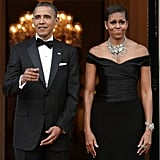 Barack and Michelle donned their finest as they waited for Queen Elizabeth at the residence of the US ambassador in London.