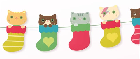 "Free Printable ""Kittens in Socks"" Garland"