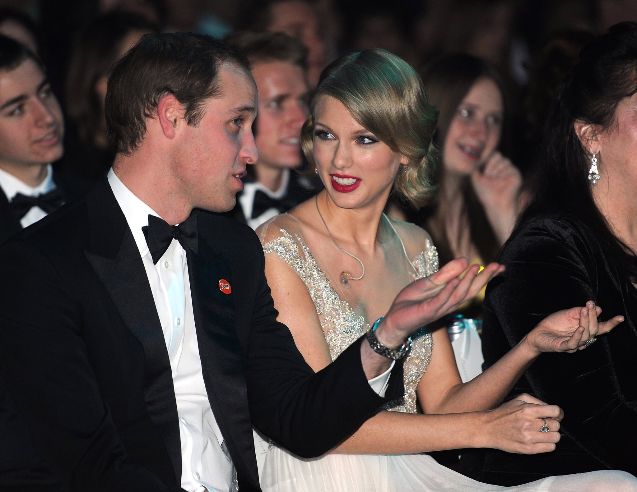 Prince William sat next to Taylor Swift at the Winter Whites Gala in London in November 2013.