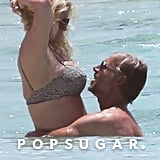 Jessica Simpson and Eric Johnson cuddled in the ocean during a vacation in the Bahamas in April 2018.