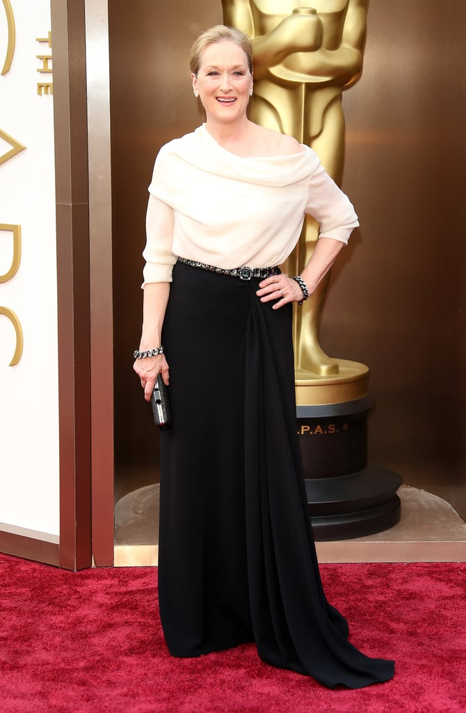 Meryl wore an ivory silk draped Lanvin gown to the 2014 Oscars.