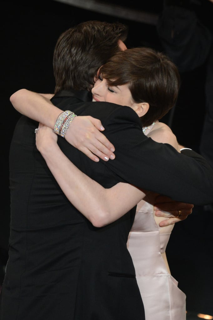Anne Hathaway hugged her Les Misérables costar Hugh Jackman during the Oscars in February 2013.