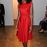 Corinne Bailey Rae in a pretty red dress at Sophie Theallet.