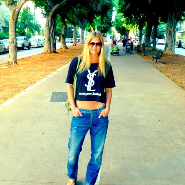Bar Refaeli showed off a grunge-cool street-style look — complete with a cropped YSL tee. Source: Instagram user barrefaeli