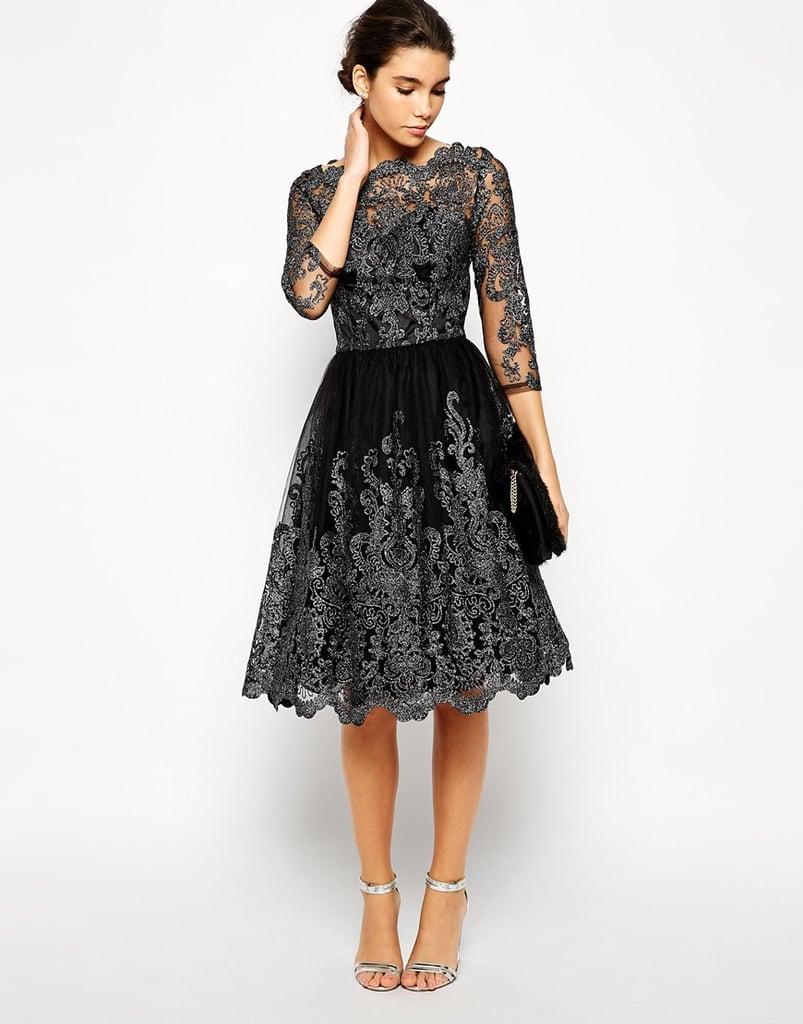 Chi Chi London Metallic Lace Midi Prom Dress