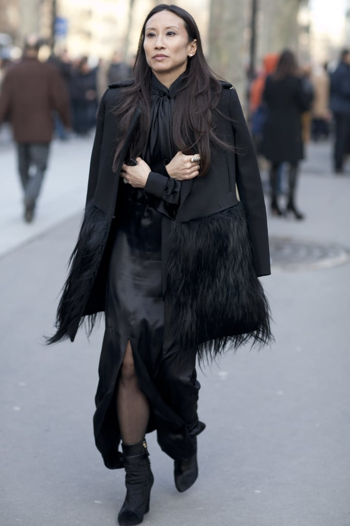 The textural detailing gave this black look a Gothic feel.