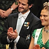 The handsome prince clapped for Nobel Prize recipients in 2012.