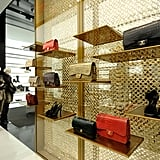 Inside, Chanel heaven: shelves filled with signature handbags.