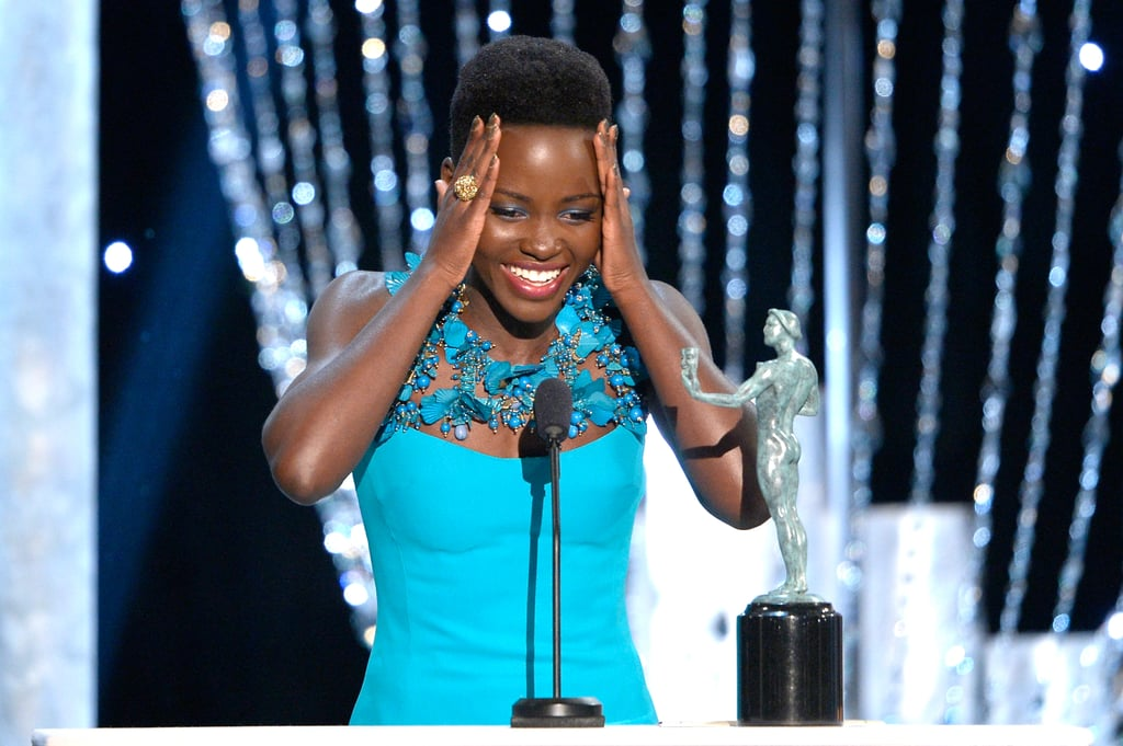 Lupita Nyong'o of 12 Years a Slave couldn't believe she won the SAG Award for supporting actress.