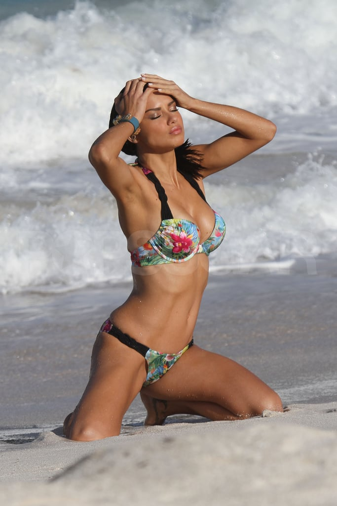 Adriana Lima hit the sand on the beach in St. Barts.