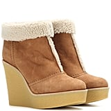Chloé Suede and Shearling Wedge Boots