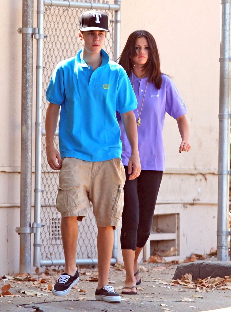 Justin Bieber and Selena Gomez wore polo shirts for their visit.