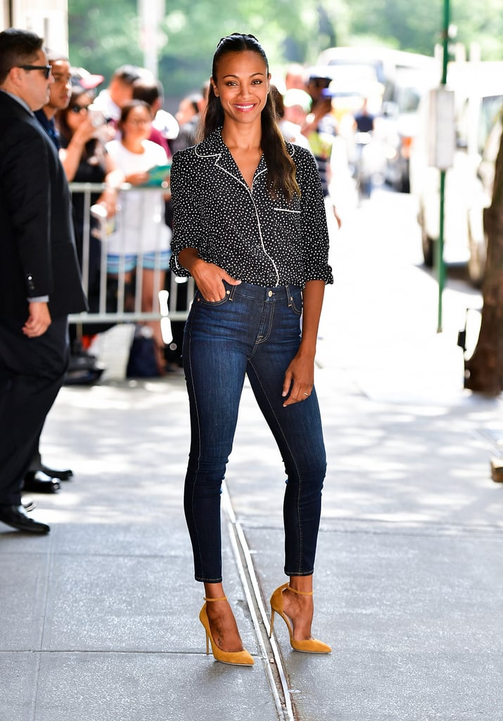 When she's not busy filming blockbuster hits or spending time with her precious family, Zoe Saldana is showing off her killer fashion instincts.  It doesn't matter if she's posing in haute couture on the red carpet or rocking casual-yet-chic denim in between meetings — the Star Trek Beyond star never fails to look expertly styled, especially when tasked with promoting such a highly anticipated film. Need proof? Keep scrolling to admire all of Zoe's best outfits so far this year.       Related:                                                                Zoe Saldana and Marco Perego Are Officially the Most Romantic Celebrity Couple on Instagram                                                                   Fact: Zoe Saldana and Marco Perego Love a Little Red Carpet PDA