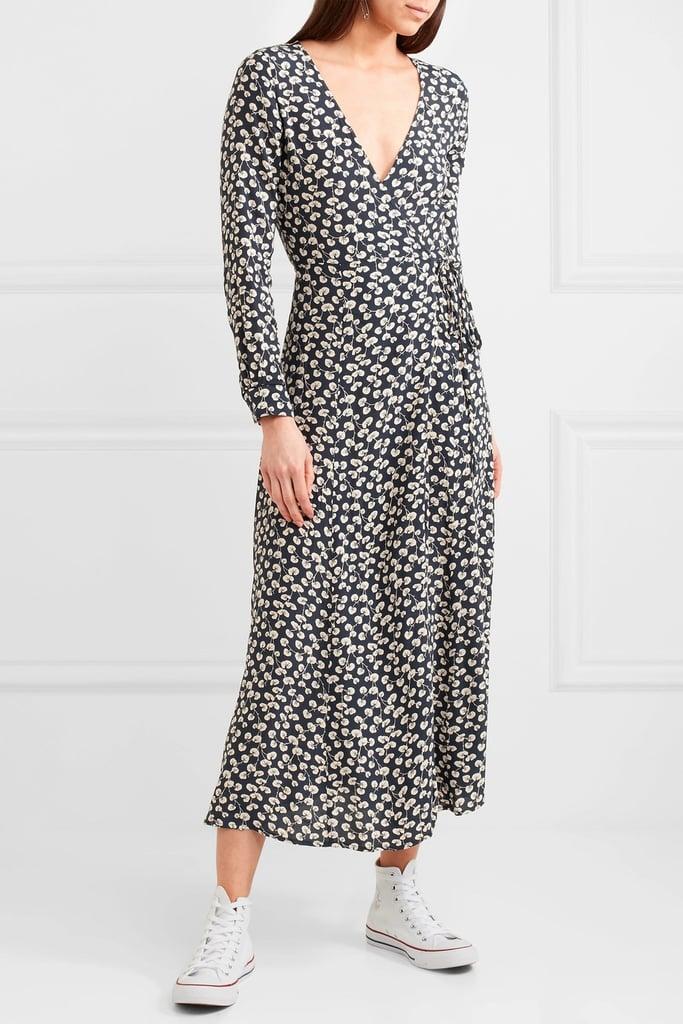 0dd9592858805 Selena's Exact Ganni Roseburg Printed Crepe De Chine Wrap Dress ...