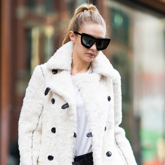 Gigi Hadid White Furry Coat