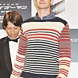 Andrew Garfield wore a striped sweater for the press conference for The Amazing Spider-Man in Japan.