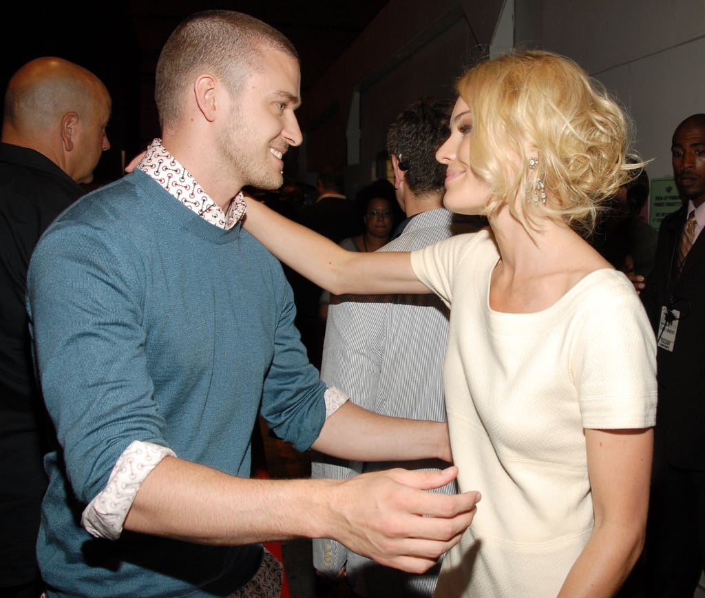 Kate Bosworth got a hug from Justin while backstage during LA's June 2006 MTV Movie Awards.