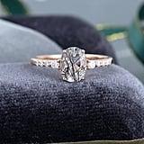 Vintage Oval Cut Black Quartz Rutilated Engagement Ring