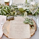 Use personalized polished stones as table markers.