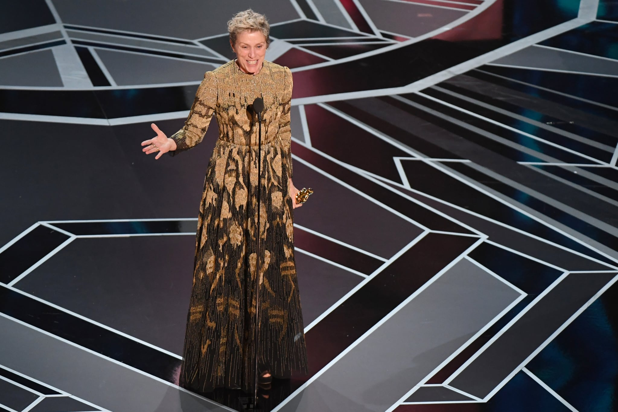 TOPSHOT - US actress Frances McDormand delivers a speech after she won the Oscar for Best Actress in