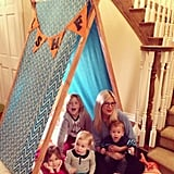 Tori Spelling built a play tent with some help from Liam, Stella, Hattie, and Finn McDermott as part of a contest to win a visit from Julius Jr. Source: Instagram user torianddean