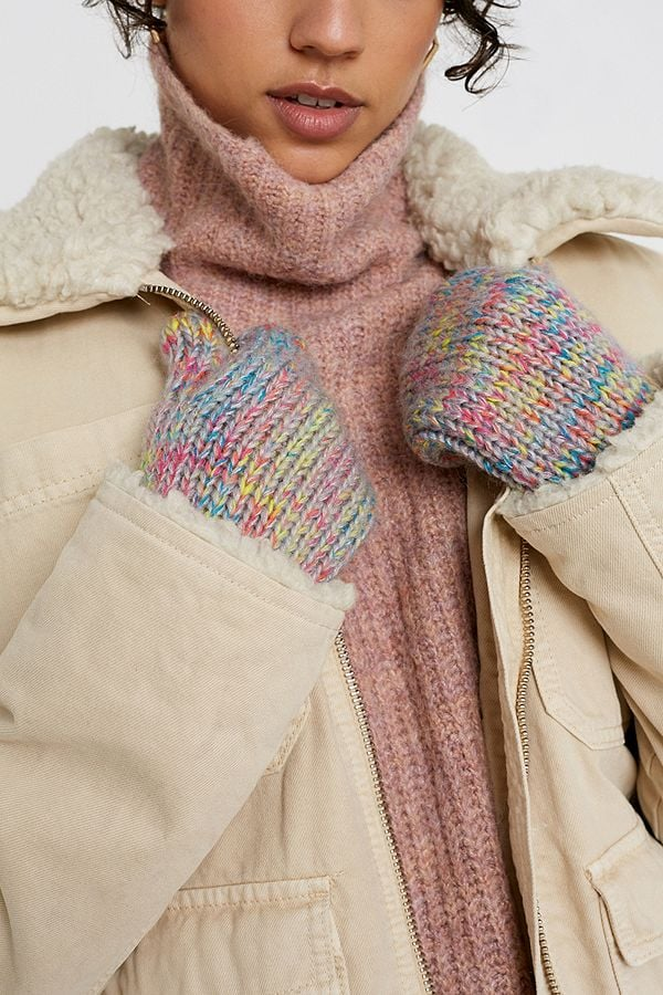UO Colourful Knit String Mittens