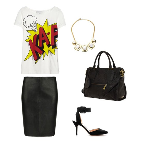 "For a slick spin on office attire that doesn't take itself too seriously, pair this cheeky printed shirt with luxe separates. A leather skirt, albeit in a svelte pencil-shaped silhouette, black sandals, and a ""we mean business"" structured satchel give the finished look its professional polish. Get the look:   3.1 Phillip Lim Printed Cotton and Modal-Blend Jersey T-Shirt ($175)  AllSaints Lucille Leather Skirt ($265)  Zara Basic Sling Back ($50)  Botkier Jackson Satchel ($395)  Kara by Kara Ross Graduating White Druzy Oval Necklace ($195)"