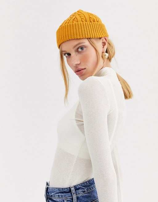 ASOS Design Recycled Cable Mini Fisherman Beanie