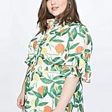 Printed Shirt Dress With Flounce Sleeve Detail