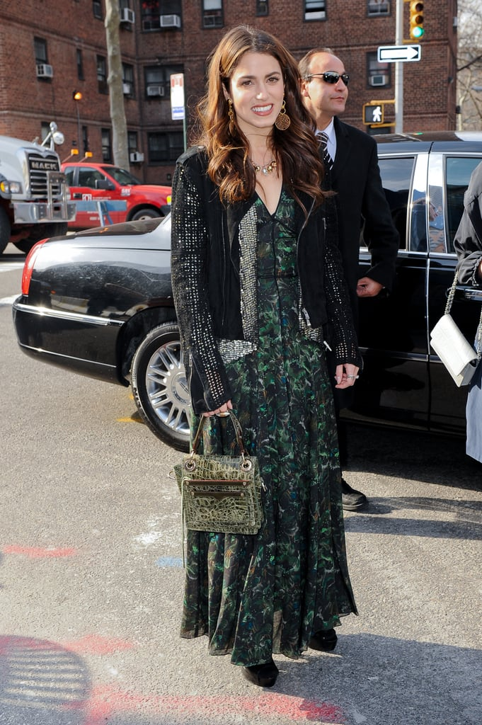 Nikki Reed was out and about at the Lincoln Center wearing a printed maxidress with booties and a leather jacket.