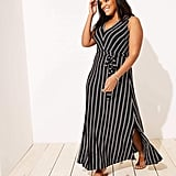 Loft Plus Striped Tie Waist Maxi Dress