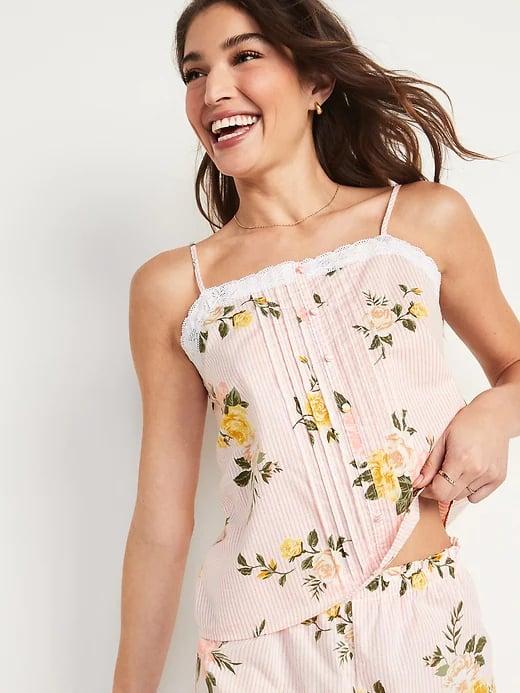 Old Navy Floral-Print Lace-Trim Pajama Set