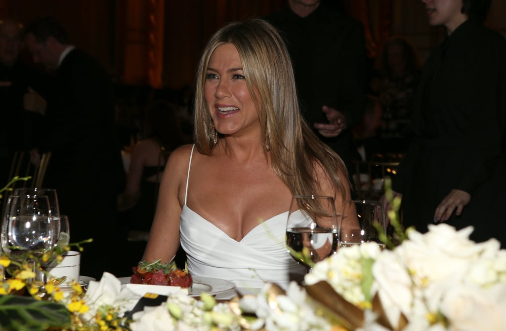 Jennifer Aniston looked happy to attend the AFI Life Achievement Award dinner honouring Shirley MacLaine in LA.
