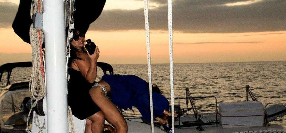 Rihanna had fun on a boat.