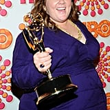 Best actress in a comedy winner Melissa McCarthy posed with her Emmy on red carpet for the HBO Emmy afterparty.