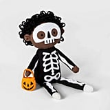 Sitting Trick or Treater Skeleton Halloween Fabric Figure