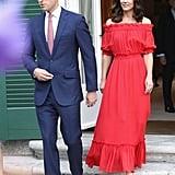Kate Middleton Red Alexander McQueen Maxi Dress