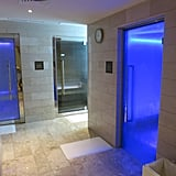 After, we were led to a private bathroom featuring different saunas, steam rooms, and even an ice room. Color-changing chakras enhanced the head-clearing experience.